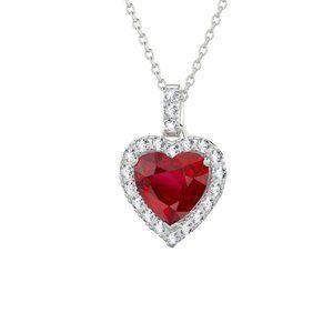 Jewelry - 5.50 Ct. Ruby And Diamonds Wg 14K Heart Shape Pend